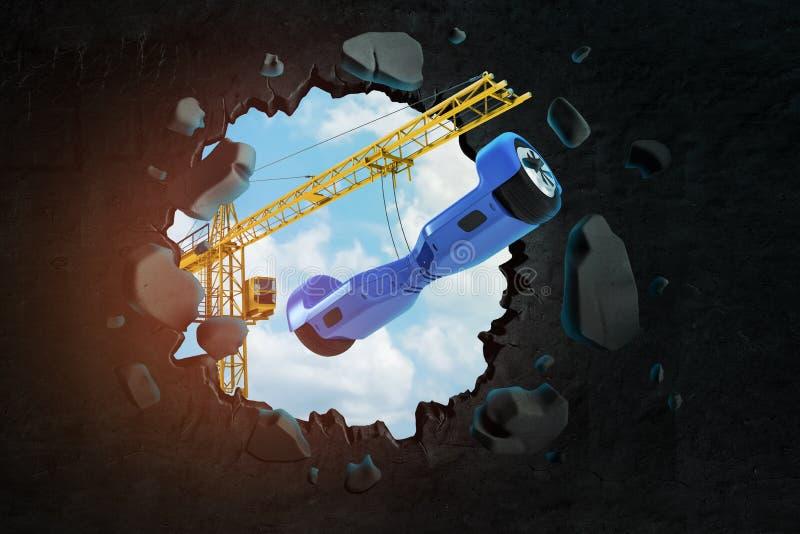 3d rendering podnosić dźwigowego przewożenia błękitny mini segway który łama przez czerni ściany z niebieskim niebem widzieć ilustracji