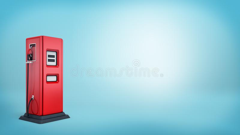 3d rendering pojedyncza czerwona nafciana pompa z czarną bazą i dołączająca rękojeść na błękitnym tle royalty ilustracja