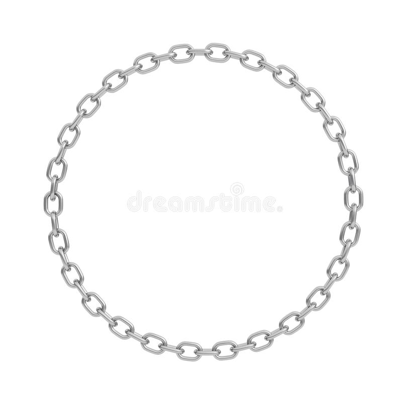 3d rendering of a polished steel chain made in shape of a perfect circle on a white background. royalty free illustration