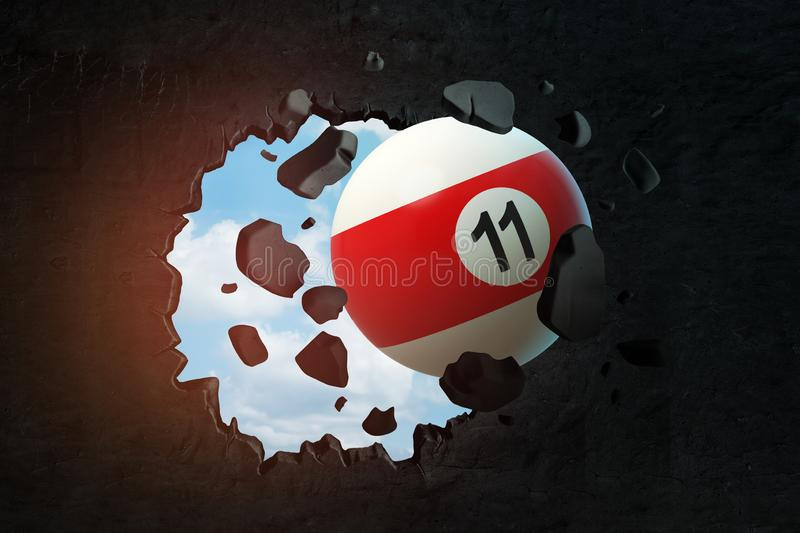 3d rendering of pool and billiard ball breaking black wall. Games and sports. Sporting goods. Table games royalty free illustration