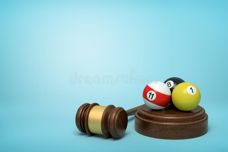 3d rendering of pool and billiard balls on round wooden block and brown wooden gavel on blue background. Digital art. Risk and reward. Table games vector illustration