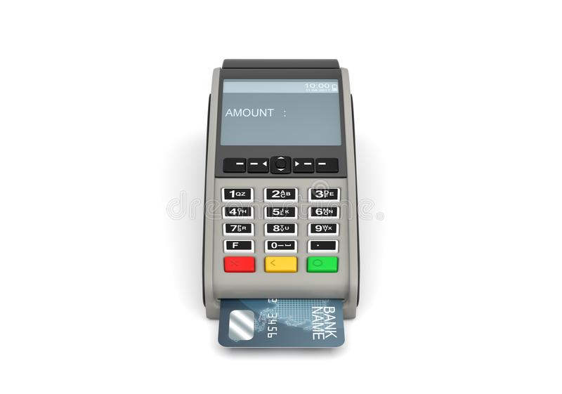 3d rendering of a POS-terminal with a generic plastic card inside and a screen with a writing AMOUNT on it. Checkout equipment. Plastic cards accepted. In stock illustration