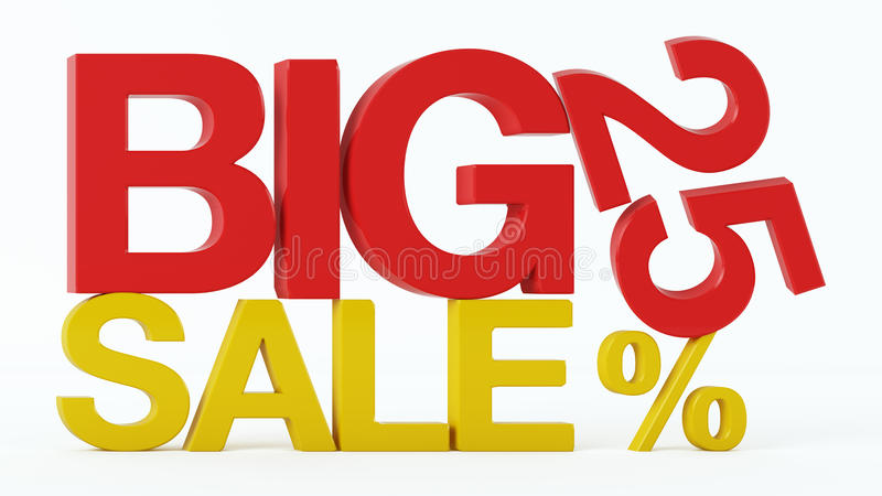 3D rendering 25 procentów Dużego sprzedaż tekst i obrazy stock