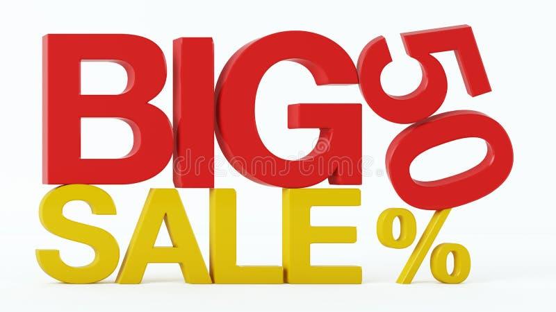 3D rendering 50 procentów Dużego sprzedaż tekst i fotografia royalty free