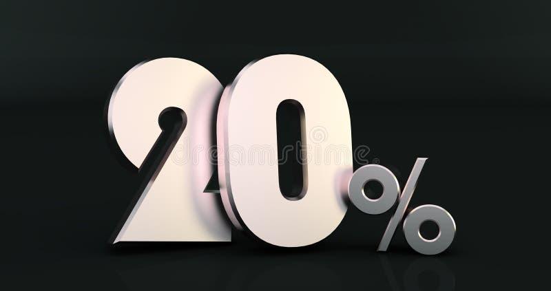 3D rendering 20 procentów na Czarnym tle ilustracji
