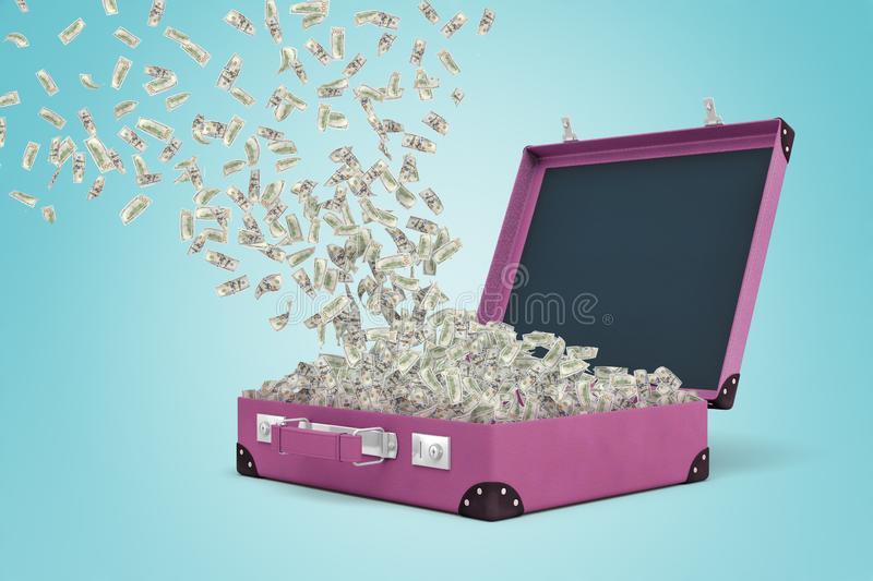 3d rendering of a purple suitcase full of money with some more dollar bills floating in the air and coming down. stock illustration