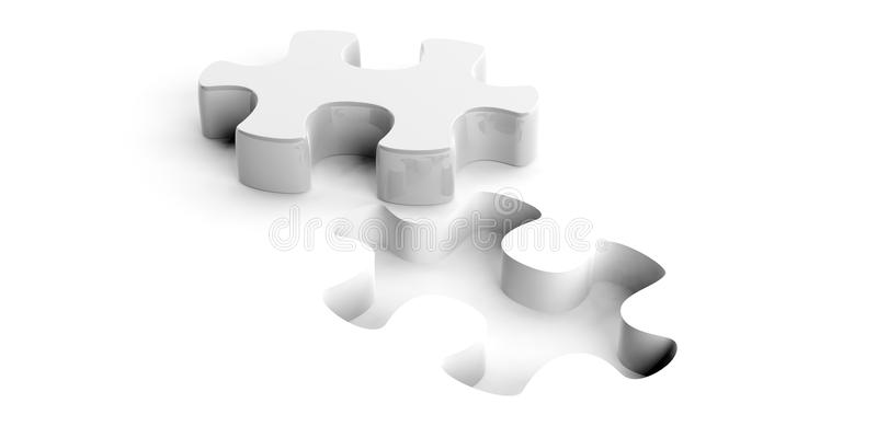 3d rendering puzzle. Cut on white background royalty free illustration