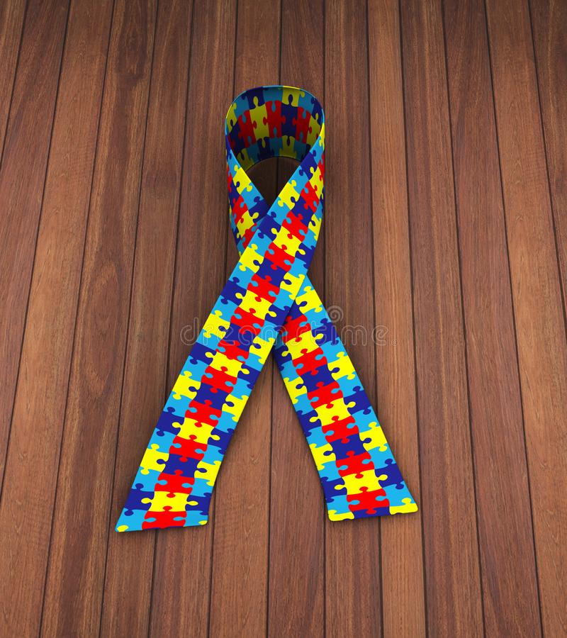 3d puzzle pattern ribbon autism awareness. 3d rendering of puzzle pattern ribbon symbolizing autism awareness vector illustration