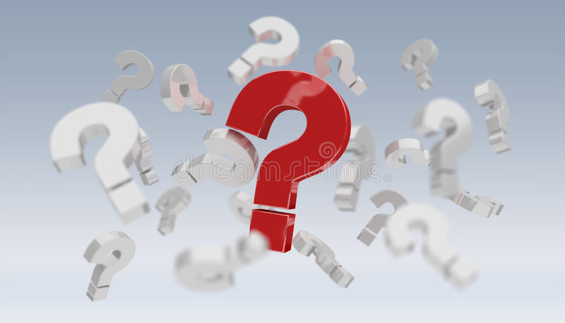 3D rendering question marks stock illustration