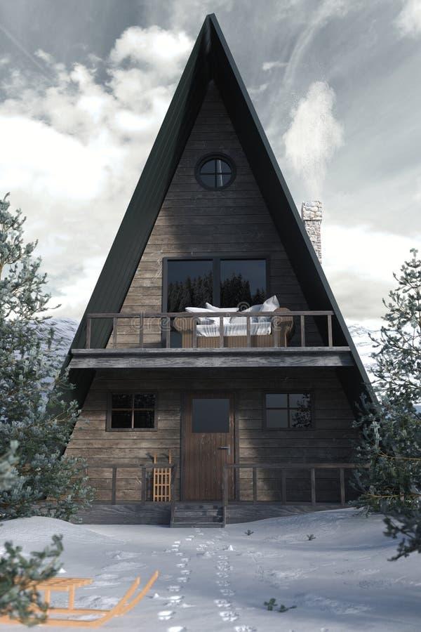 3d rendering ramy drewniana kabina w śnieżnym zima krajobrazie ilustracji
