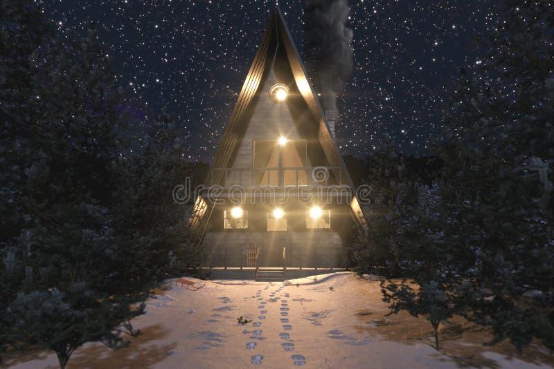 3d rendering ramy drewniana kabina w śnieżnym zima krajobrazie przy gwiaździstą nocą ilustracji