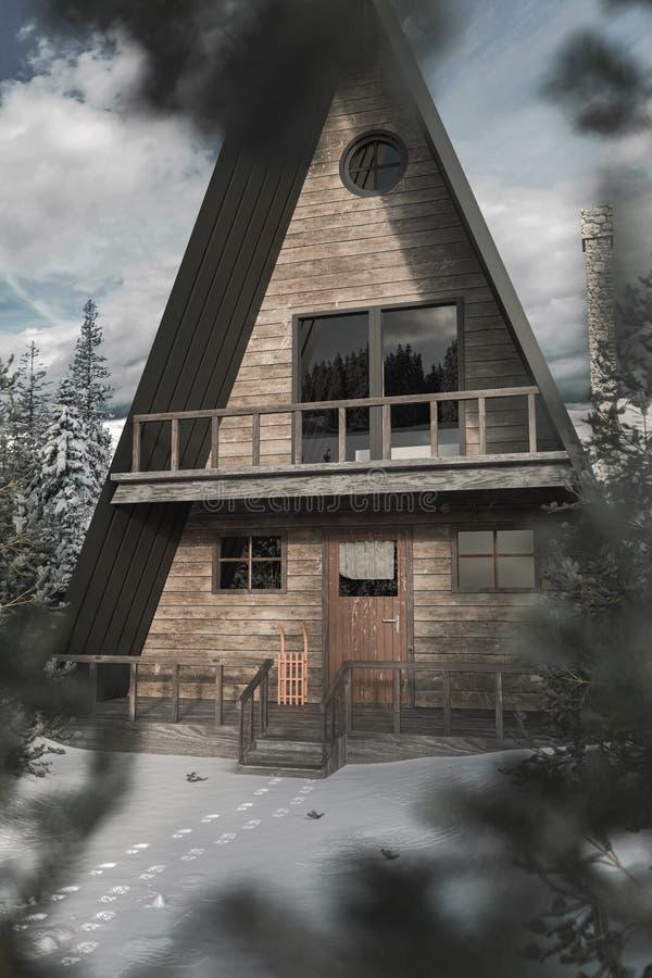 3d rendering ramy drewniana kabina w śnieżnym zima krajobrazie z zamazanymi jedlinowymi drzewami opuszcza royalty ilustracja