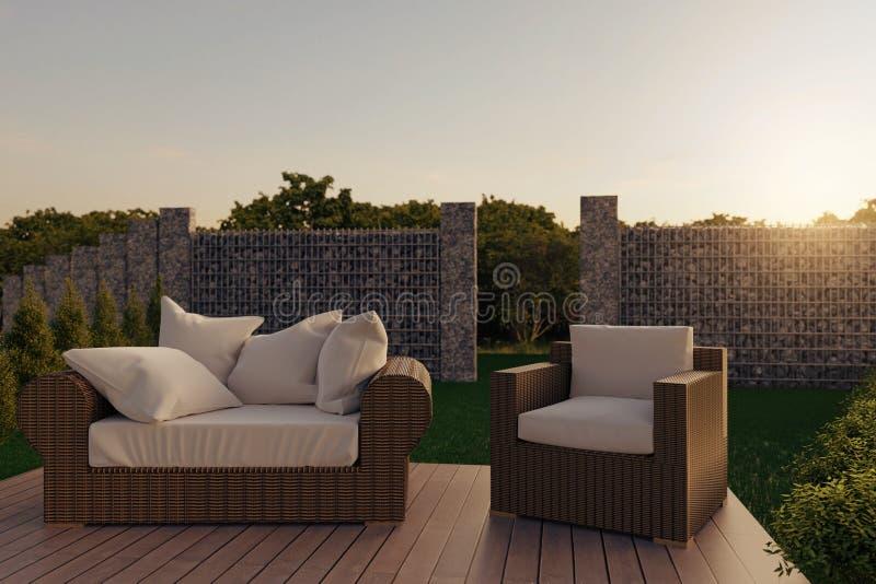 3d rendering of rattan garden furniture on wooden patio at garden in the evening sunshine stock illustration