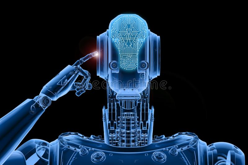 X-ray robot thinking. 3d rendering x-ray humanoid robot thinking or computing stock illustration