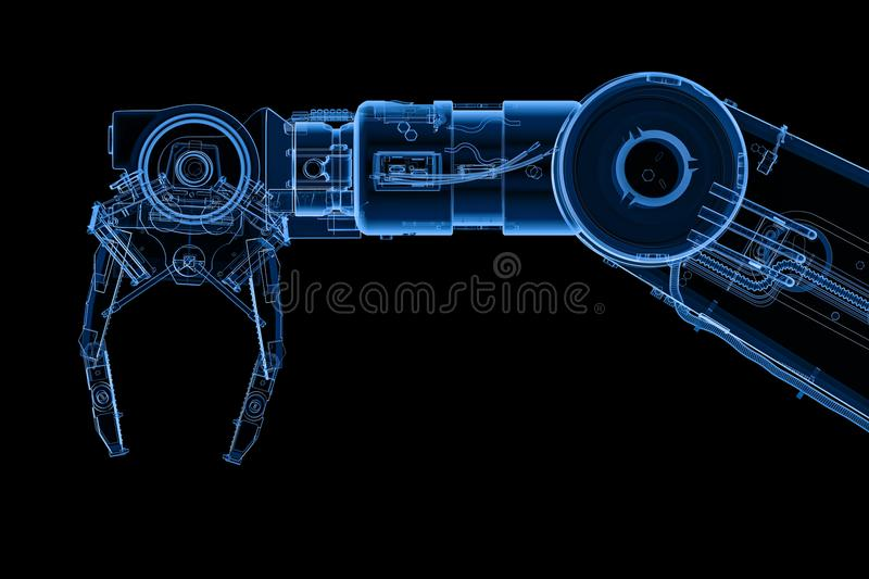 X-ray robotic arm. 3d rendering x-ray robotic arm or robot hand isolated on black royalty free illustration