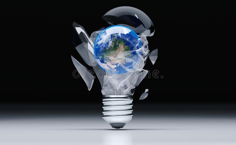 Realistic Broken Classic Light Bulb With Earth Globe. 3D Rendering Of Realistic Broken Classic Light Bulb With Earth Globe Inside On White Background The vector illustration