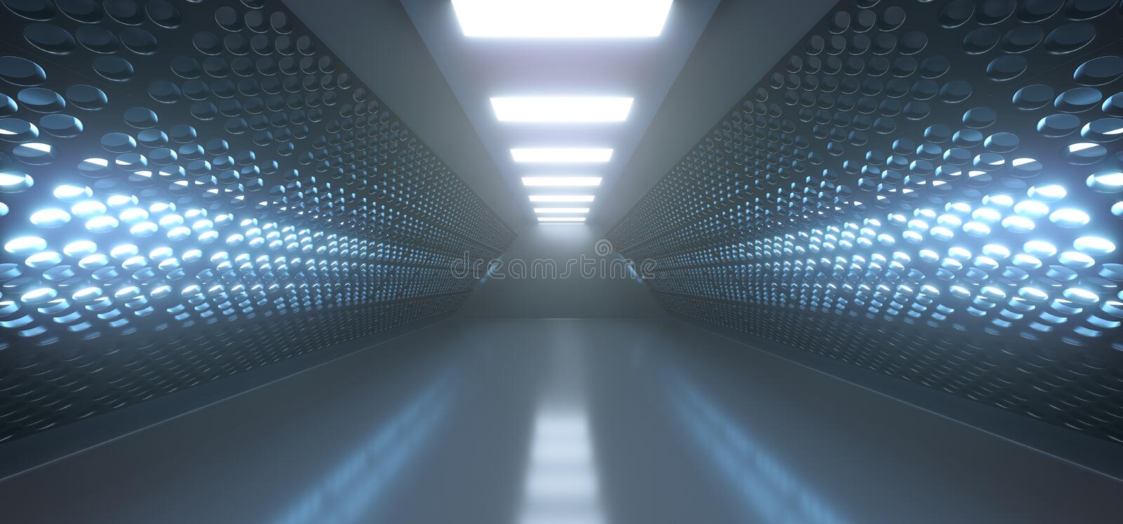 Realistic Empty Black Corridor With Grid Mesh Walls And Lights. 3D Rendering Of Realistic Empty Black Corridor With Grid Mesh Walls And Lights stock illustration