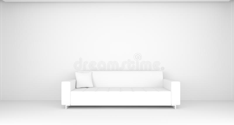 White Room With Classic Sofa And Pillow. 3D Rendering Of Realistic White Room With Classic Sofa And Pillow stock illustration