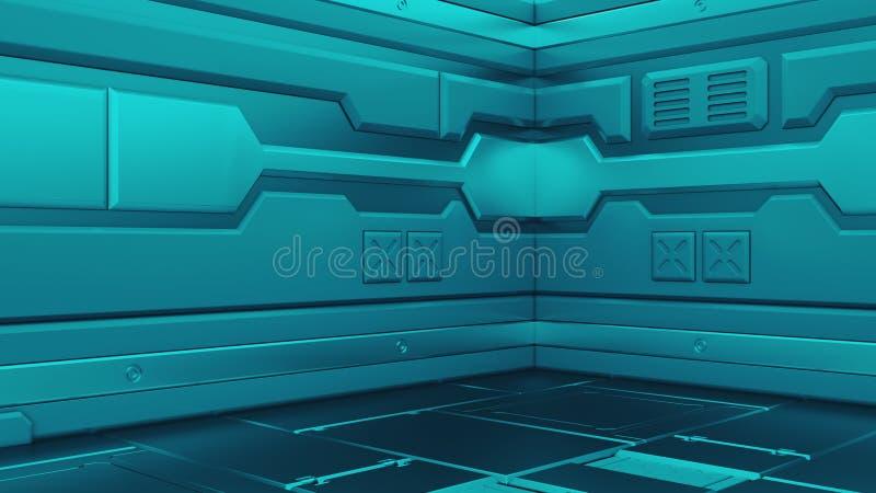 3D rendering realistyczny fantastyka naukowa statku kosmicznego korytarz royalty ilustracja