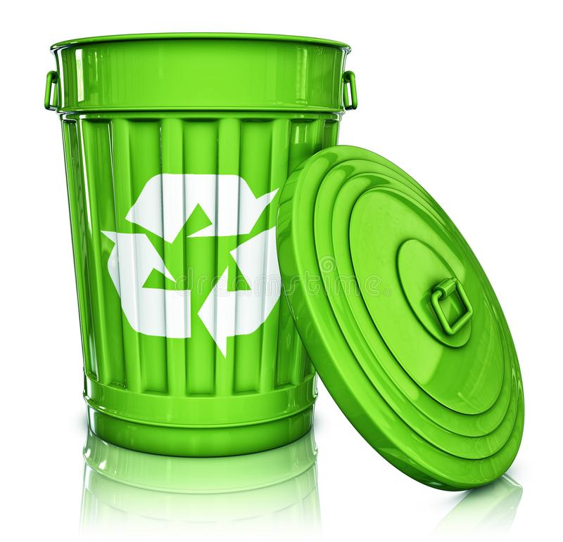 Garbage can. 3D rendering of an recycling can stock photo