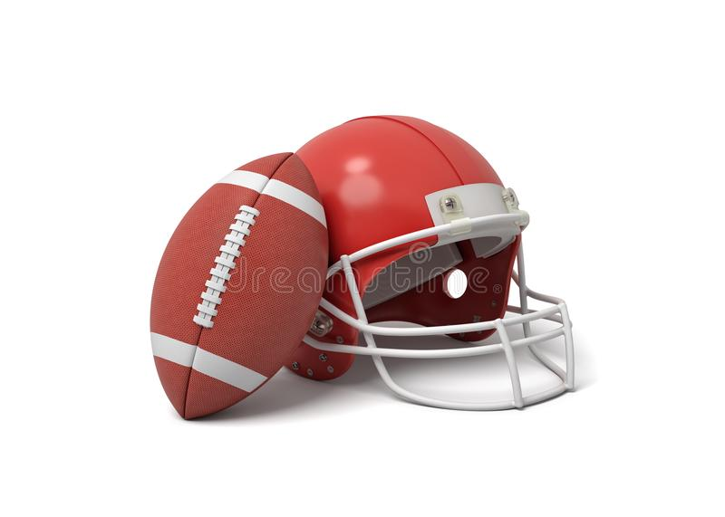 3d rendering of a red American football helmet lying near a red oval ball on a white background. American football gear. Ready to win. Team sport equipment vector illustration