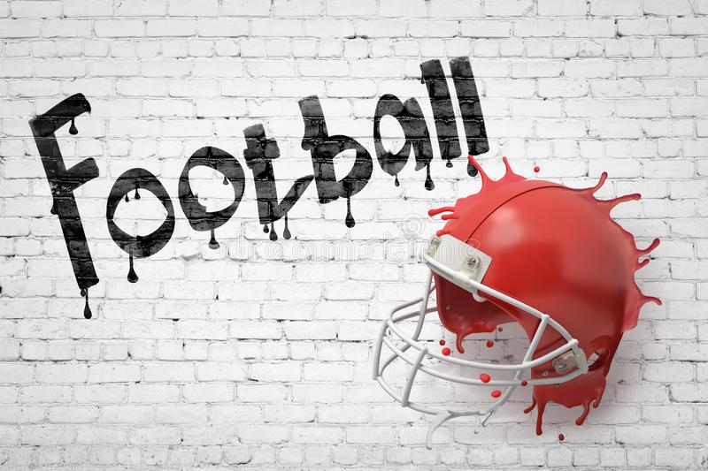 3d rendering of a red american football helmet splashing with Football sign on white brick wall background royalty free stock images