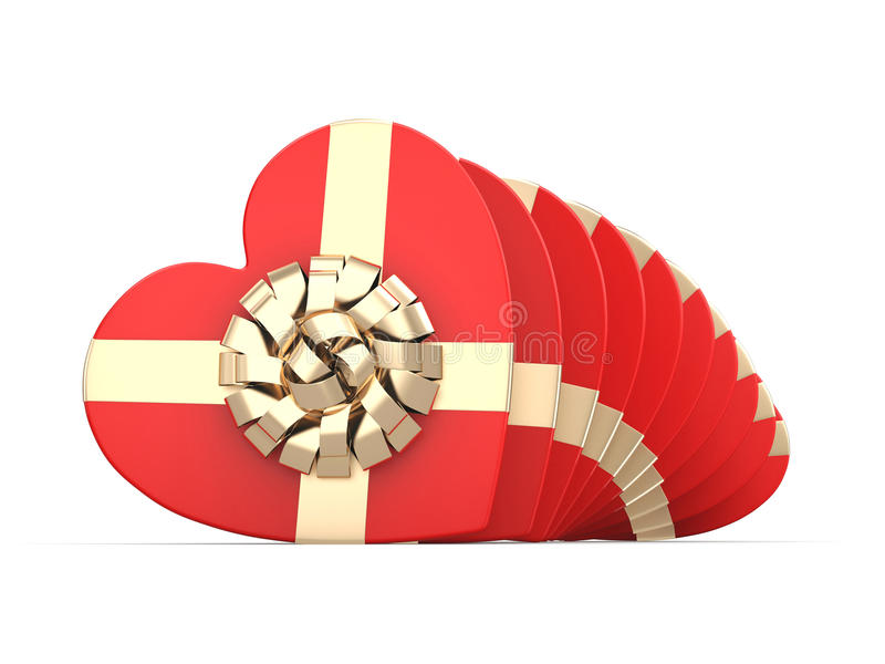 3D rendering Red boxes heart. 3D rendering Red boxes with heart shaped gold ribbon stock illustration