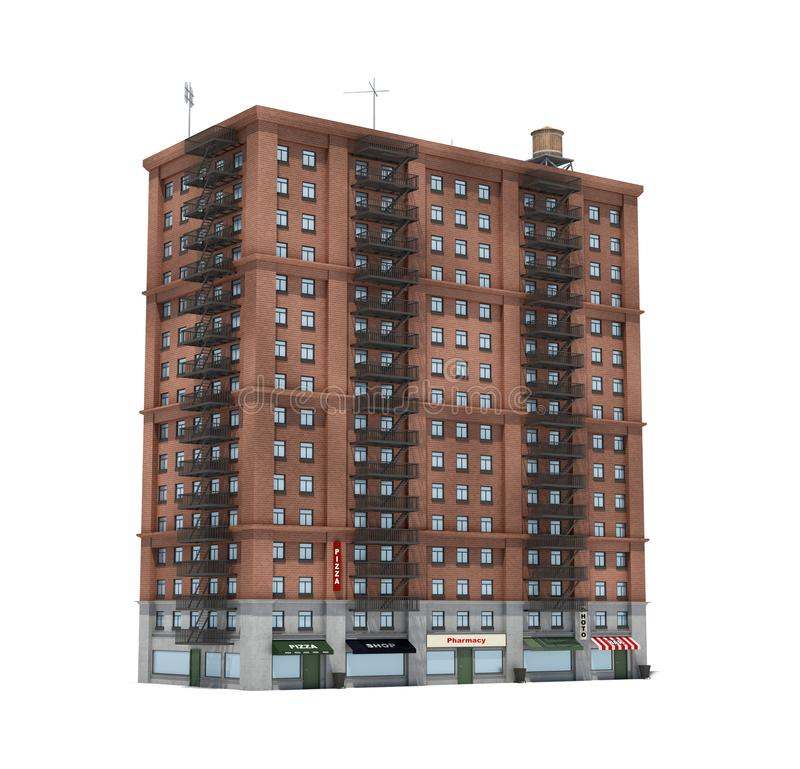 Download 3d Rendering Of A Red Brick Apartment Building With Fire Escapes  And Shops On The