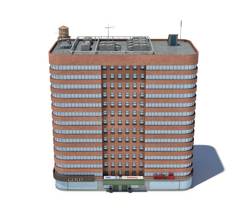 Download 3d Rendering Of A Red Brick Apartment Building With Shops On The  Ground Floor.