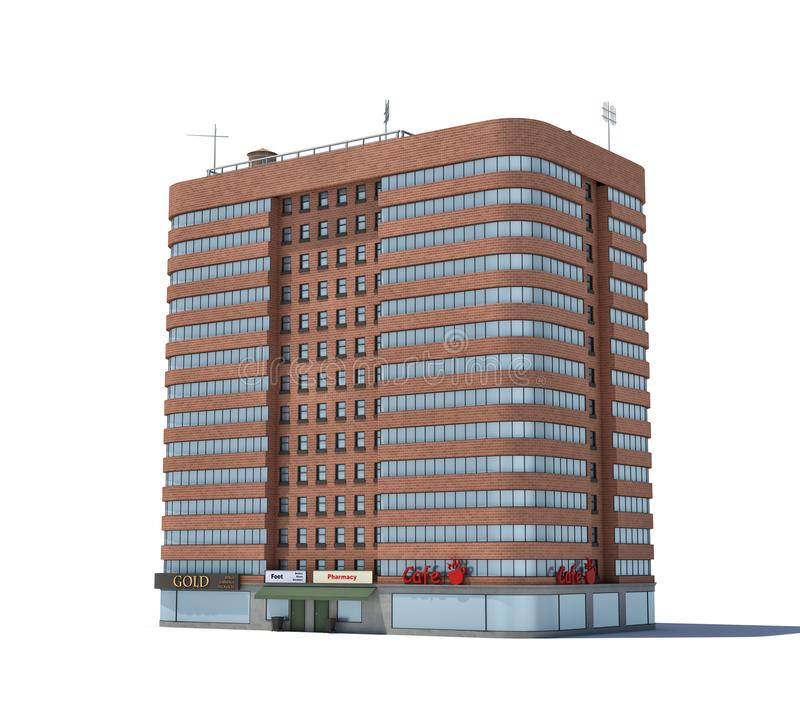 Delicieux Download 3d Rendering Of A Red Brick Apartment Building With Shops On The  Ground Floor.
