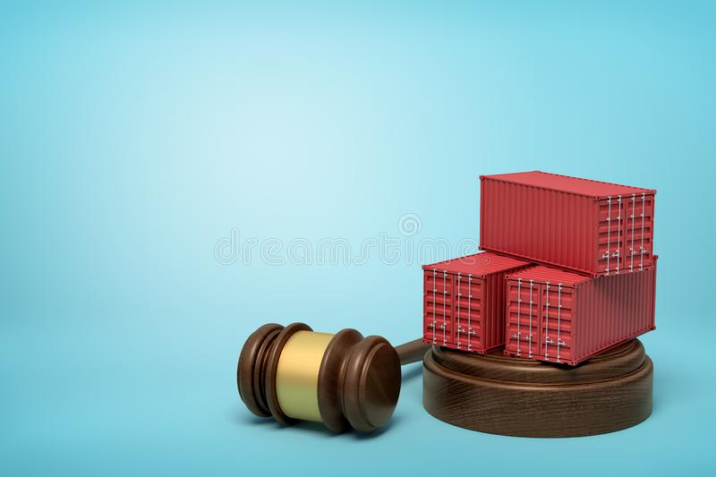 3d rendering of red cargo containers on round wooden block and brown wooden gavel on blue background. Digital art. Objects and materials. Storage and stock illustration