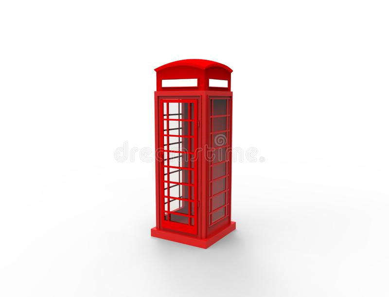 3D rendering of a red classic telephonebooth in white background. vector illustration