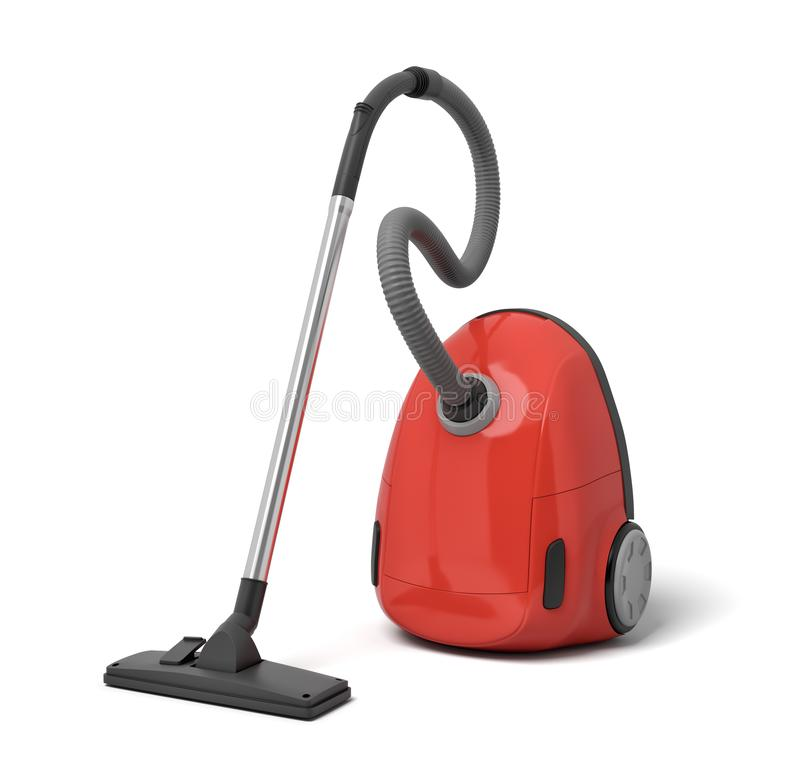 3d rendering of red electric vacuum cleaner isolated on white background vector illustration