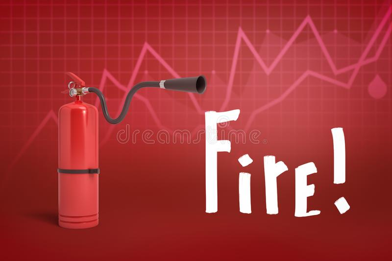 3d rendering of red foam fire extinguisher with `Fire` sign on red diagram background. Fire safety. Graphic art. Objects and materials stock image