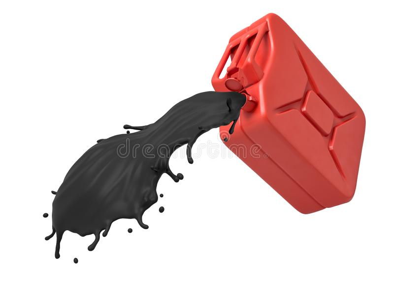 3d rendering of red gasoline can with black oil pouring isolated on white background stock illustration