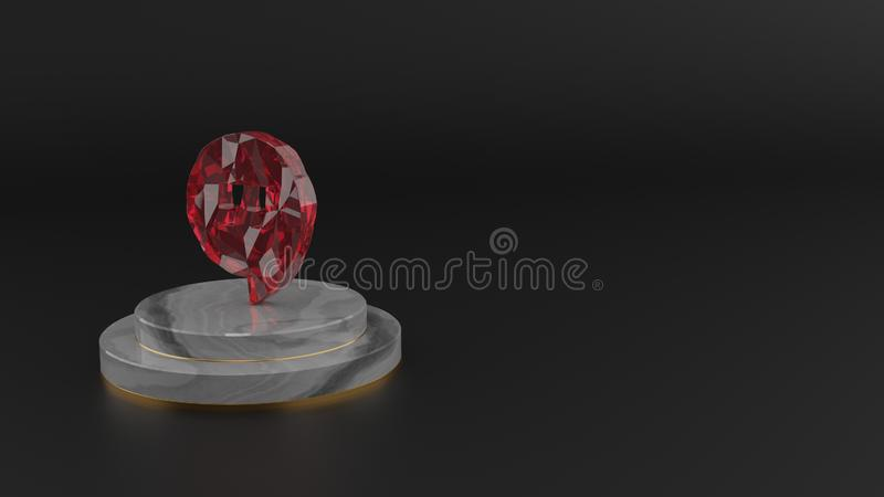 3D rendering of red gemstone symbol of symbol icon vector illustration