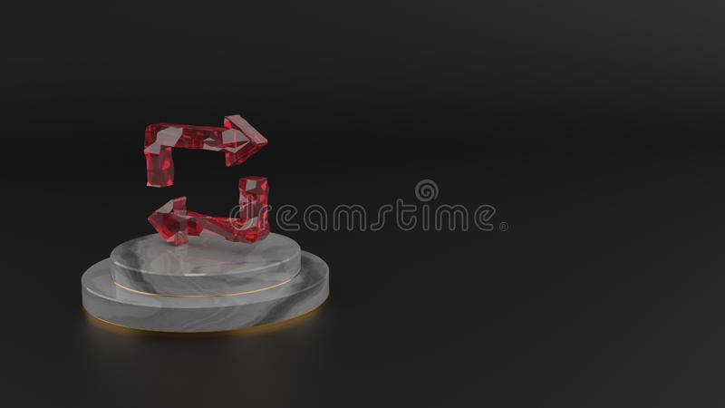 3D rendering of red gemstone symbol of repeat icon stock illustration