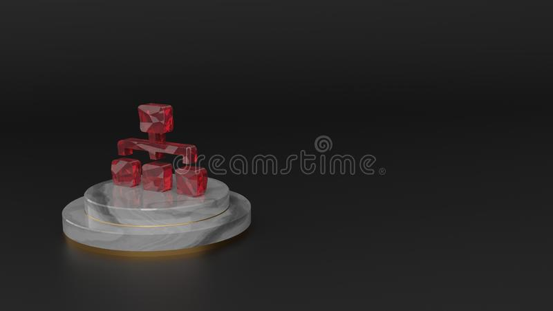 3D rendering of red gemstone symbol of sitemap icon. 3D rendering of red gemstone symbol of network from one main and three other rectangles on marble round royalty free illustration