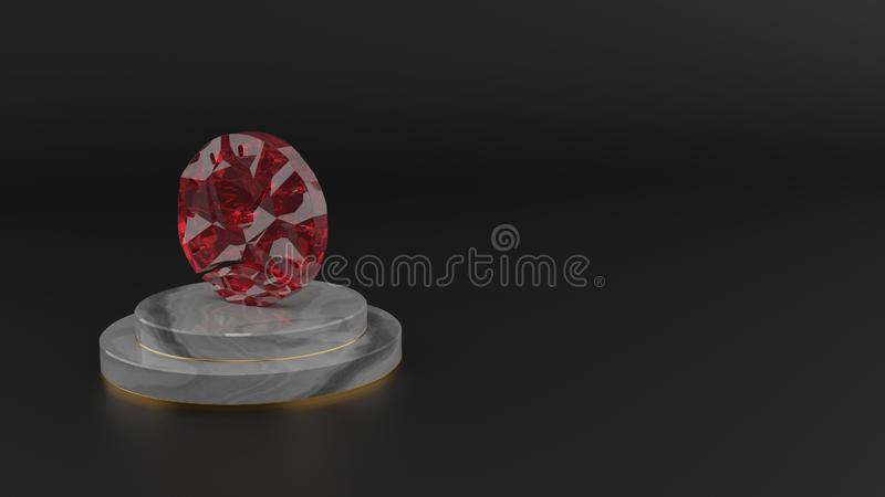 3D rendering of red gemstone symbol of stopwatch  icon vector illustration