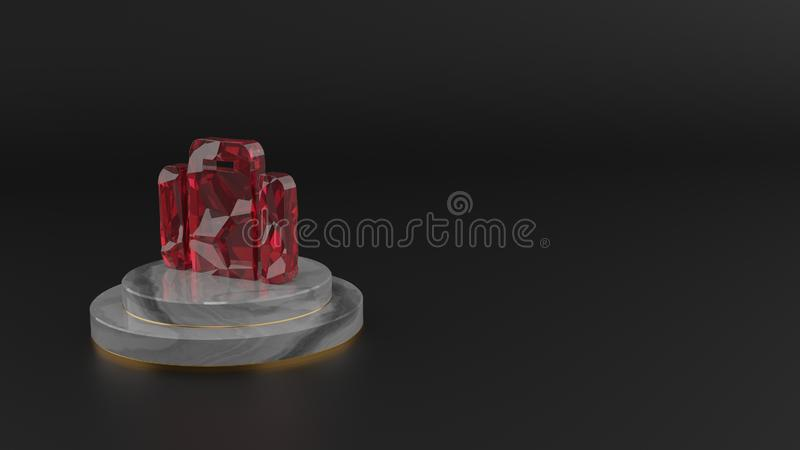 3D rendering of red gemstone symbol of suitcase icon royalty free illustration