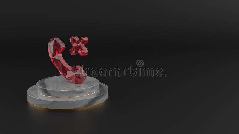 3D rendering of red gemstone symbol of technology icon vector illustration