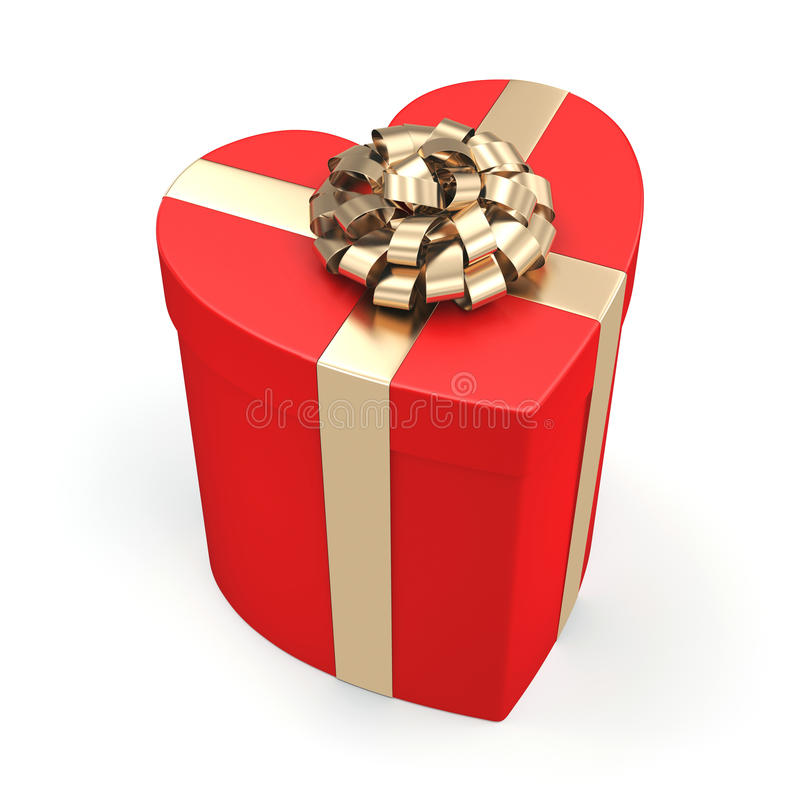 3D rendering Red heart box. 3D rendering Red box with heart shaped gold ribbon royalty free illustration