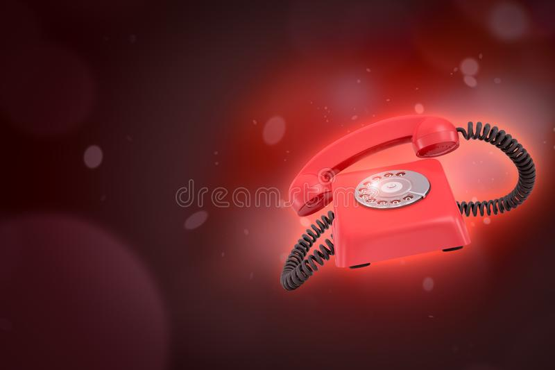 3d rendering of red retro telephone on dark neon red background stock illustration