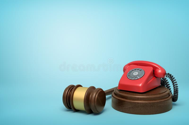 3d rendering of red retro telephone standing on sounding block with gavel beside on light-blue background with copy vector illustration