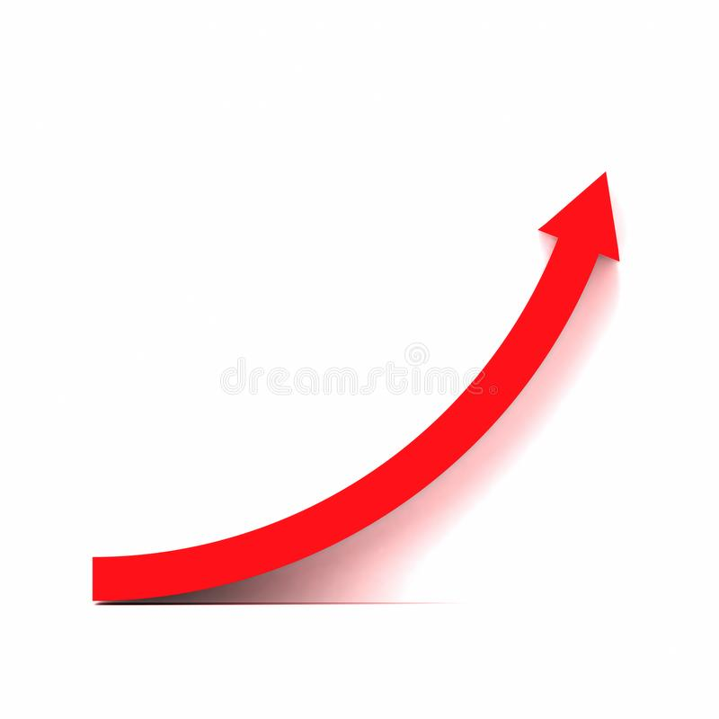 Red growth curve. 3d rendering of red right shoulder up curve vector illustration