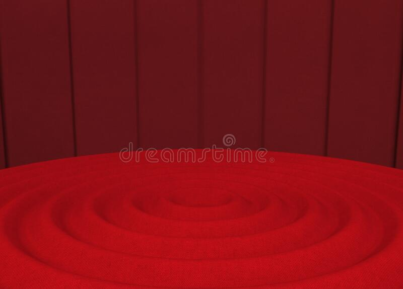 3d rendering. red ripple style floor with dark wall background.  vector illustration