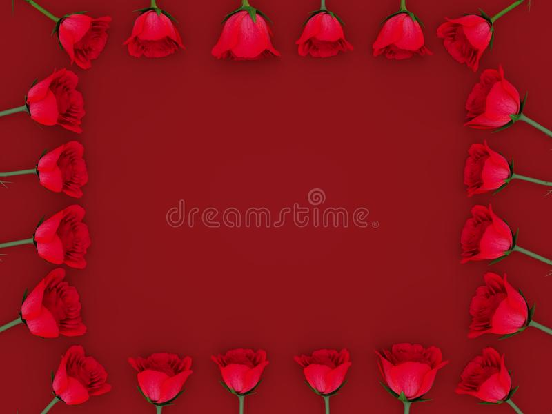 3d rendering of red roses aligned at all sides of the frame with copy text space. Over a red background vector illustration