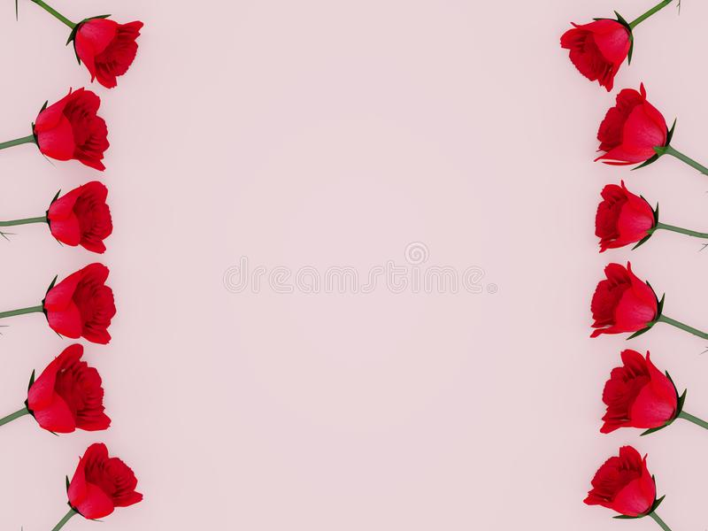 3d rendering of red roses aligned at the sides with copy text space. Over a pink background royalty free illustration