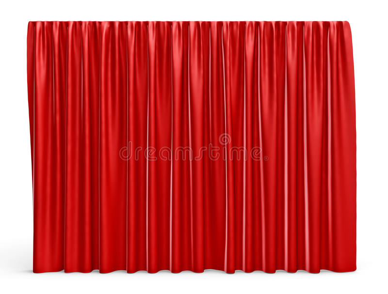 3d rendering of a red satin clothes is making a large curtain isolated on white background royalty free illustration