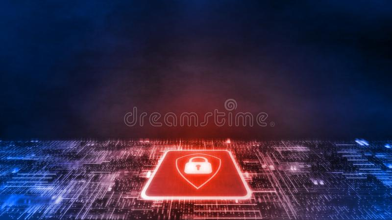 3D Rendering of Red shield logo on microchip with glow circuit board. Concept of business security. Corporate, large scale organization control to protect vector illustration